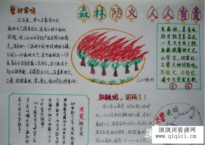 护林防火的手抄报内容,小学生森林防火手抄报,关于森林防火手抄报图片